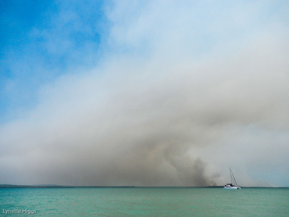 Tiata sits behind a blanket of smoke in The Top End